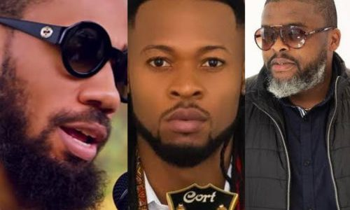 Larry Gaaga, Phyno & Flavour On Set Of A New Music Video (See Photo)