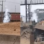 Panic as gas pipeline leaks along Lagos-Ibadan expressway (video)