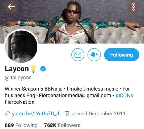 Laycon becomes first to be verified on Twitter
