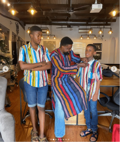 Adorable photos of Kunle Afolayan and his children