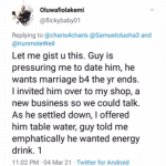 """""""He Wants Marriage Before the Year End, so I invited him Over to my Shop and this Happened"""" (Details below)"""